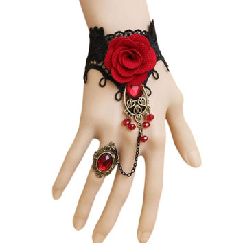 Red Rose Elegant Gothic Style Lace Bangles Bracelets With Finger Ring Adjustable For Women HB88