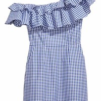 Short flounced dress - Blue/White/Checked - Ladies | H&M GB