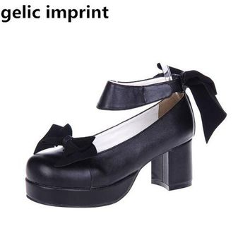 Angelic imprint woman mori girl lolita cosplay shoes lady high heels pumps women princess dress party shoes 6.5cm 33-47 bowtie