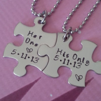 His and Her Puzzle Piece Necklace Set  With Date - Couples,Wedding, Anniversary necklace