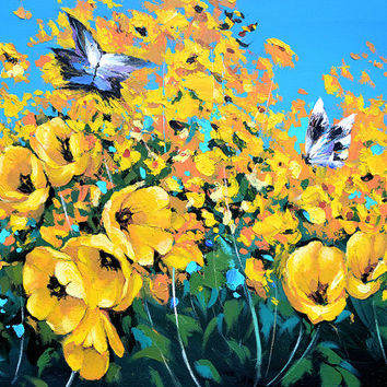 Butterfly. High Quality Print on Canvas, Dmitry Spiros, living room decor wall art, home decor, flowers painting, Butterfly painting