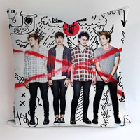5sos high school collage Pillow, Pillow Case, Pillow Cover, 16 x 16 Inch One Side, 16 x 16 Inch Two Side, 18 x 18 Inch One Side, 18 x 18 Inch Two Side, 20 x 20 Inch One Side, 20 x 20 Inch Two Side