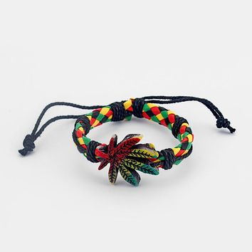 Rasta Breaded Leather Charm Bracelet - Adjustable Size