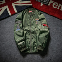 Pilot Jacket Men and women tide brand supreme embroidery baseball clothing motorcycle cotton youth thickening tooling jacket Green