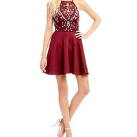 B. Darlin Multi Colored Beaded Bodice Fit-And-Flare Dress | Dillards