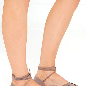 Honey, Please Taupe Suede Lace-Up Flats