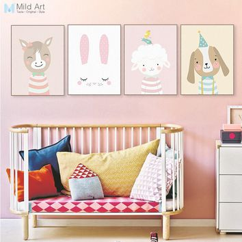 Kawaii Cartoon Animals Deer Bear Rabbit Posters Prints Nordic Nursery Baby Kids Room Wall Art Picture Home Decor Canvas Painting