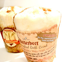 Butterbeer Inspired Bath Bomb HUGE 12 oz scented in Butterscotch Spicy Vanilla Sugar and Rum Nerdy Geeky Bomb