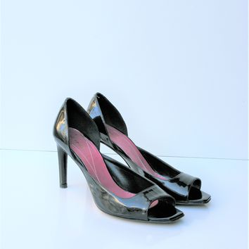 Kate Spade Open Toe Patent Leather d'Orsay Pump 7.5