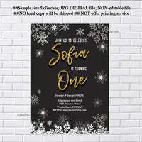 Snowflakes invitation, chalkboard winter party invitation, Winter Snowflakes, birthday invitation any age, 1st birthday, 2nd, 3rd- card 1194