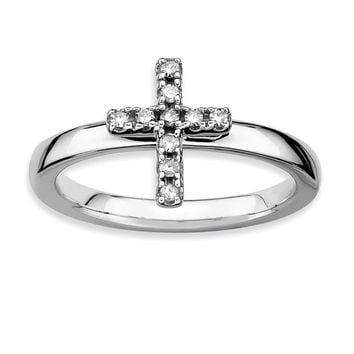 Sterling Silver Stackable 1/10 Ctw HI/I3 Diamond 10mm Cross Ring