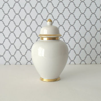 Small White Ginger Jar, White and Gold Ginger Jar, Mann Coin Gold Apothecary Jar, White and Gold Vanity Jar, White Ceramic Jar