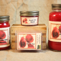 Fresh Cut Roses Scented Candle,  Fresh Cut Roses Scented Wax Tarts, 26 oz, 12 oz, 4 oz Jar Candles or 3.5  Clam Shell Wax Melts