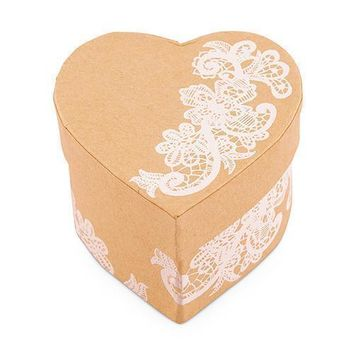 Heart Kraft Paper Favor Box with Vintage Lace Print Chocolate Brown (Pack of 6)