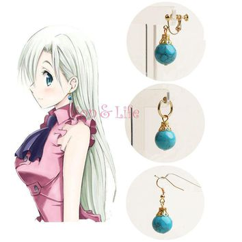 Biamoxer The Seven Deadly Sins Elizabeth Turquoise Pendant Earring Ear Clip Cosplay Props