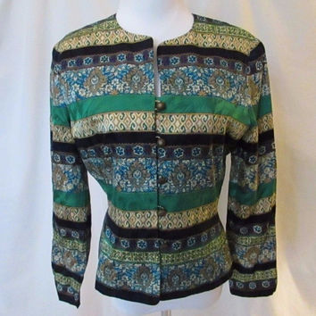 Talbots Classic Silk Jacket Women's Petite 6P Tapestry Colors & Design