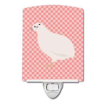 Texas Quail Pink Check Ceramic Night Light BB7957CNL
