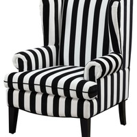 Paris Velvet Wingback Chair Black and White