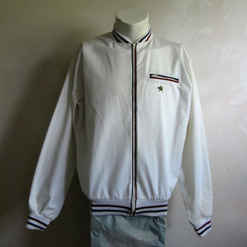 Tennis Sport Vintage 70s Mens Jacket White Zip Front Striped Track Sport Leisure 1970s Jacket Large