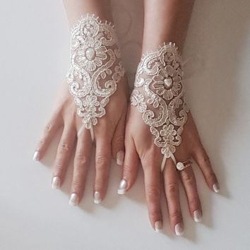 Champagne Bridal glove lace wrist cuff lace gloves wedding prom party rustic  wedding wonderland