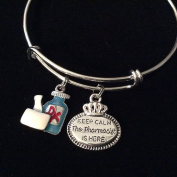 Keep Calm the Pharmacist is Here Silver Charm Bangle Bracelet Expandable and Adjustable One Size Fits All