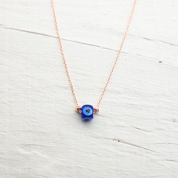 Handmade Minimalist Cubic Evil Eye Silver Necklace
