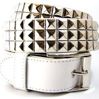 Studded Belts - 3 Row Silver Studded Belt White Leather