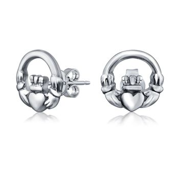 BFF Claddagh Celtic Love Round Circle Stud Earrings Sterling Silver