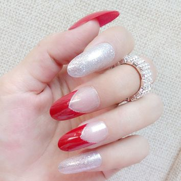 Glitter Silver Fake Nails Long Size Red False Nails Clear French Nail Art Full Cover DIY Manicure Tools Z124