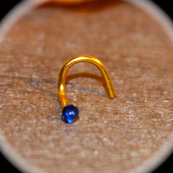 Itty Bitty 2mm Dark Blue Nose Stud, 20 Gauge, Tiny tragus cartilage Stud Tiny DaintyNose Ring Tiny Circle  Nose Ring Open Pearl Nose Jewelry