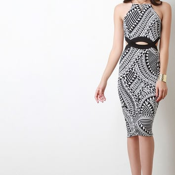 Graphic Tribal Print Cut Out Bodycon Dress