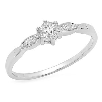 0.05 Carat (ctw) Sterling Silver Round White Diamond Ladies Bridal Promise Engagement Ring