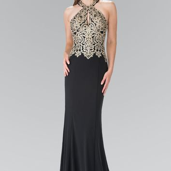 Black and gold prom dress gls 2231