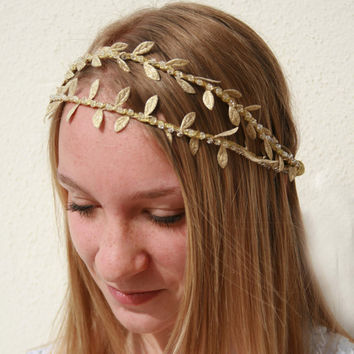 Bridal Grecian Style Gold Double Headband with Laurel Vine Leaf Trim and Crystals Wedding Headband