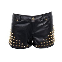 Ladies Gold Color Studded Black Faux Leather Shorts