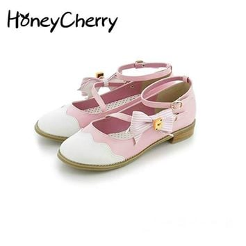 Spring new lolita low-heeled shoes daily cute soft sister bow girl College wind Lolita, Women Shoes