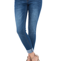 LOW RISE BUTT LIFT CUFFED MEDIUM WASH SKINNY JEAN