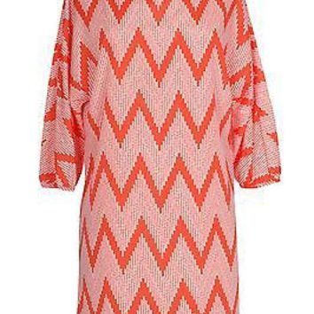 Chevron Zig Zag Print 3/4 Dolman Sleeve Blouson Tunic Cocktail Mini Dress