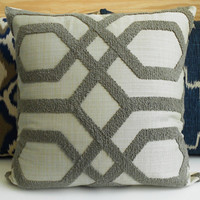 Gray embroidered tufted trellis decorative pillow cover