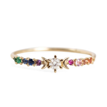 Rainbow Stardust Ring - Rings - Catbird