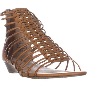 AR35 Averi Gladiator Wedge Sandals, Cognac, 5.5 US