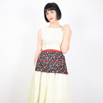 Vintage Apron Half Apron Waist Apron Black Red Floral Print Heart Print Hostess Apron Skirt Apron Retro Smock Gift For Her Bridal Shower