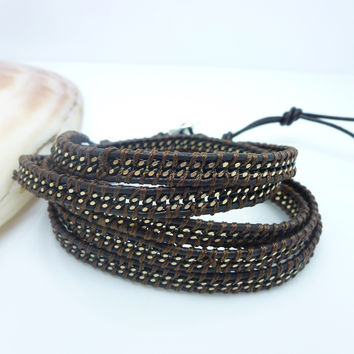 Brown on Brown Wrap Bracelet