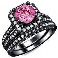 VINTAGE 3.56CT PINK ROUND CUT 925 STERLING SILVER ENGAGEMENT AND WEDDING RING