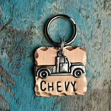 "Cat Tag, Dog Tag, Pet Tags, Animal Creations, Pet Accessories, Pet Supplies, ID Tags, ""Mater"", Collar ID, Personalized, pickup, trucks"