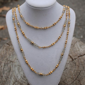 Christian Dior Three Strand Gold, Glass, Rhinestone Necklace- Vintage- Germany
