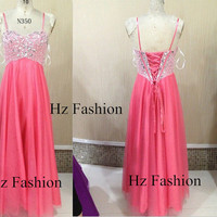 2014 pink long gown, long formal dress, Strapless floor length prom dress