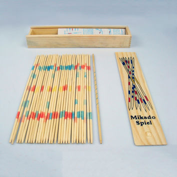 Baby Educational Wooden Traditional Mikado Spiel Pick Up Sticks With Box Game