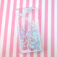 Blue Heart Glitter Liquid Waterfall Case for IPhone 5s, Hologram Quicksand Bling Case