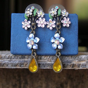 Boho Flower Drop Earrings, Romantic Victorian Country Long Dangle Earrings, Colorful Enamel stud Earrings Metal Jewelry, Gift for Girl Woman